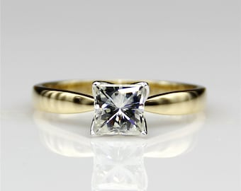 Floral Prongs Princess Cut 1ct Esdomera Moissanite Tapered Solitaire 14k Two Tone White Gold Engagament Ring (CFR0268-MS1CT)