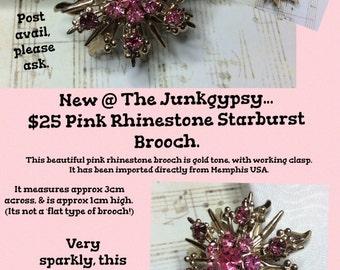 Pink Rhinestone STARBURST Goldtone BROOCH