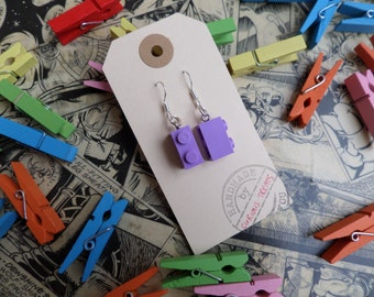 lilac lego brick earrings