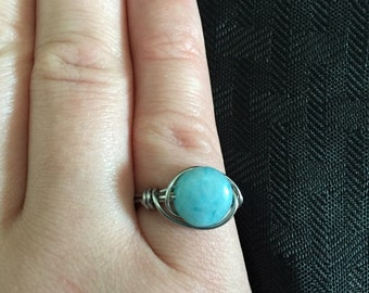 Blue Jade Disk Wire Wrapped Ring