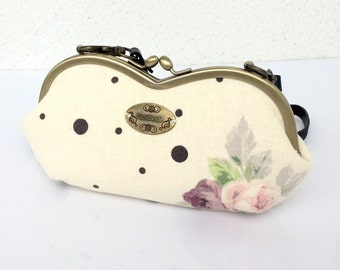 Floral and dot prints metal frame with shoulder strap