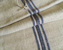 Vintage Blue Stripe Large Handmade Organic Natural Hemp Hungarian Handwoven Grain Sack Flour Sack Cushion Pillow Case
