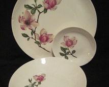 Vintage Crooksville Southern Belle China 4 Sets of 3 (Dinner, BB Plate & Sauce/Dessert Bowl)