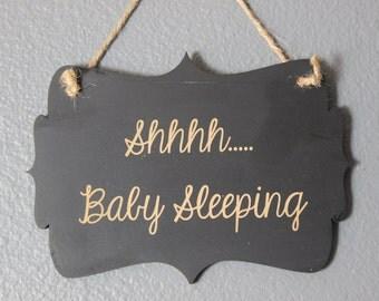 chalkboard, laser engraved,hanging sign,sign,chalkboard sign,baby sleeping,front door,nursery,door knob,door knob hanger