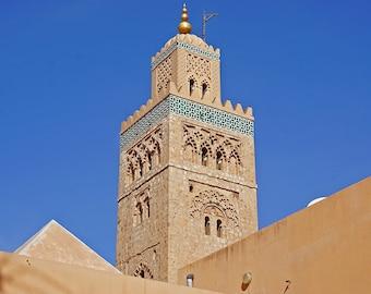 Moroccan Mosque Architecture Close-Shot Canvas Art Print (20x27)