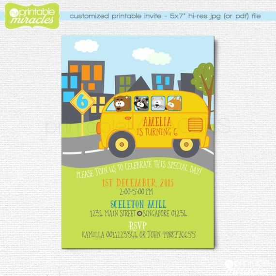 wheels on the bus invitation school bus birthday printable