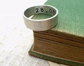 Personalised sterling silver chunky men's unisex ring, name and date ring. Jewellery for men, initials, name, date ring