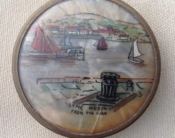 Vintage compact mirror Coty compact vintage powder compact Lyme Regis sailing boats compact 1920's compact 1930's compact seaside souvenir