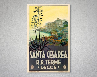 Santa Cesarea, Terme, Italy  Vintage Travel Poster, Canvas Giclee Print