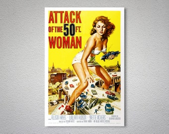 Attack of the 50ft Woman - Movie Poster - Poster Paper, Sticker or Canvas Print