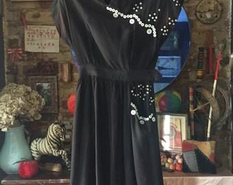 1940s Black Pearlies Dress