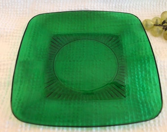 "Anchor Hocking Glass Forest Green 8.25"" Luncheon Plate - Charm Pattern"