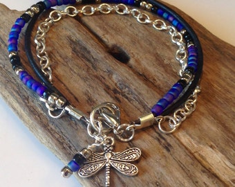 Boho Bracelet, Beaded Boho Bracelet with Silver Chain, Cobalt blue, purple, silver Bracelet, leather Beaded wrap, charm bracelet