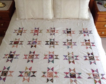 Handmade patchwork quilt top, new, unfinished quilt top, ready to be quilted, quilt top, OHIO STAR