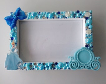 Disney CINDERELLA PHOTO FRAME  - Hand decorated - to fit 6x4 photo's.