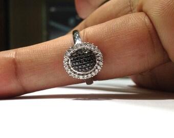0.75 Carat Black & White Diamond Ring in 14K White Gold