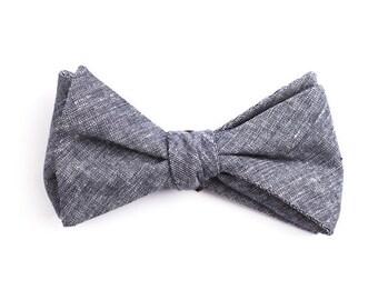 Solid Navy Denim Bow Tie