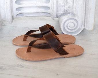 Flip Flop Sandals, Jesus Sandals, Genuine Leather, Ancient Greek leather sandals, handmade sandals, brown sandals