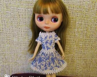 Dress for Blythe, Pullip (Blue flowers)