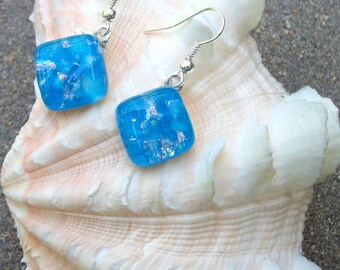 Pretty Aqua Blue With Dichroic Glass Sparkles Dangle Earrings