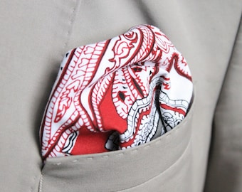 "The ""Rosso"" Red White Grey Paisley double sided Cotton Handmade handkerchief pocket square Suit mens Spero accessories Italian"