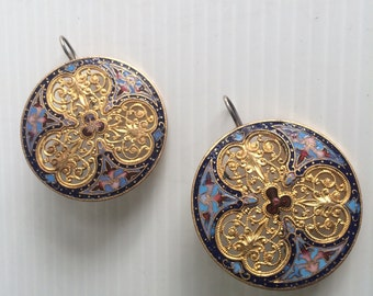Earrings made from late 19th century French enameled buttons