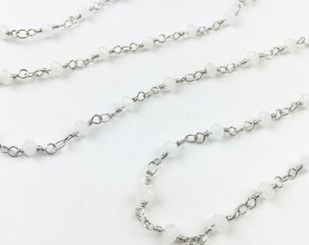 White Bead Silver Rosary Chain // Silver Finish // BBB Supplies Luxe {LF-002S}