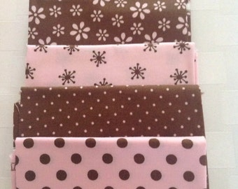 Teddy Bear Basics by Windham, Brown and Pink Fabric with Dots and Flowers, Fat quarter Bundle