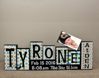 Baby Boy Room Decor, Custom Name Letters, Personalized Wood Blocks, Baby Letter Blocks, Custom Wood Blocks, Birth Stats and Picture Blocks