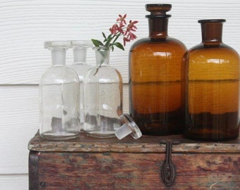 Vintage laboratory glassware ~ two amber glass apothecary bottles ~ price for the pair