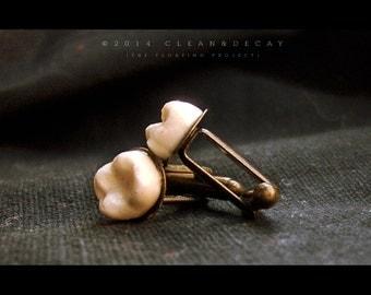HUMAN TEETH CUFFLINKS human teeth replica macabre human tooth bronze gift