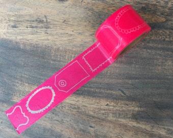 Label washi tape NEON pink (W04) DEADSTOCK