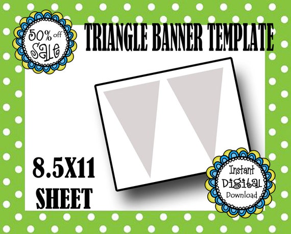 triangle banner template editable banner template diy. Black Bedroom Furniture Sets. Home Design Ideas