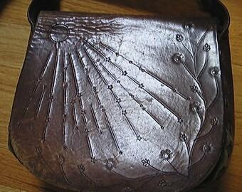 Vintage Shoulder Bag Hand Tooled Leather Late '60's Moon Stars Flowers Hippy Boho *SALE*
