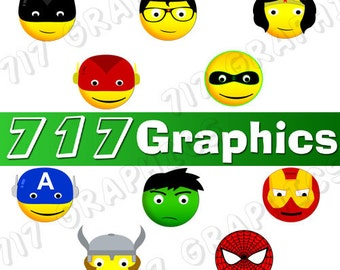 Superhero Smiley Face Clipart/Emoji