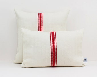 Vintage grain sack pillow cover with Red stripes - Christmas cushion - French style pillow - Antique Grain sack pillow - Grainsack pillow