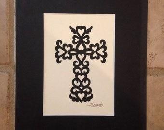 """Cupid Cross, ORIGINAL ART Handmade Paper Cutting, Scherenschnitte, fits 5x7"""" frame"""