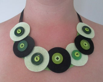 Handcrafted soft Felt and Button Necklace