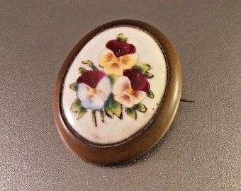 """Victorian Bog Oak Brooch, Hand Painted Porcelain Pansy Sentimental Mourning, Antique Jewelry, Large 2"""""""