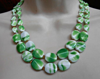 West Germany Necklace, Art Glass, 2 Strand, Marbled Green