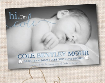 hi. I'm Photo Birth announcement, baby boy birth announcement photograph, elephants