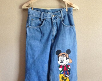 90s High Waisted Mickey Mouse Jeans (Extra Small-Small)