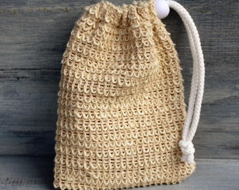 Natural Sisal Soap Pouch, Exfoliating Soap Sack, Made with Natural Sisal Fibers