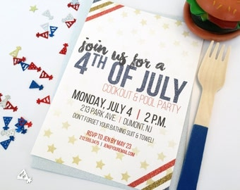 Memorial Day // 4th of July // Labor Day - Summer Pool Party BBQ Cookout Invitation