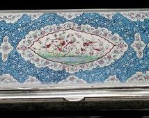 PERSIAN Qajar Dynasty Multicolored Enameled Birds Flowers Scrolls Cigarette Tobacco Box Solid 800 Silver