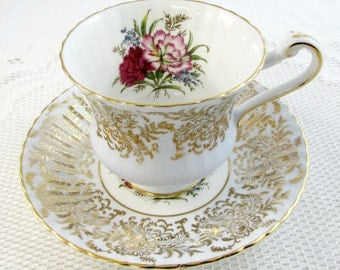 Paragon Tea Cup and Saucer Blue and Gold with Carnations, Vintage Tea Cup, Bone China