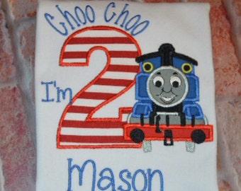 Choo Choo I'm 2/Train birthday shirt/train birthday party/Thomas train birthday shirt