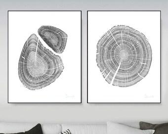 Oak Tree Rings Black and White Hand Drawn PRINTABLE English Oak, anniversary gift, 12 x 16. Plus A1 ,Tree Ring print, Wood Prints, log slice