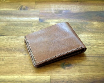 A Slim Kangaroo Leather Wallet With Under Pockets - Brandy Colour