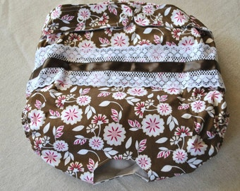 FREE SHIPPING. Dog Diaper. In Season Diaper. In Heat Panty. Brown Floral Retro Print. XX-Large.